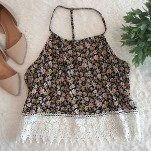 LA Hearts Lace Crop Top